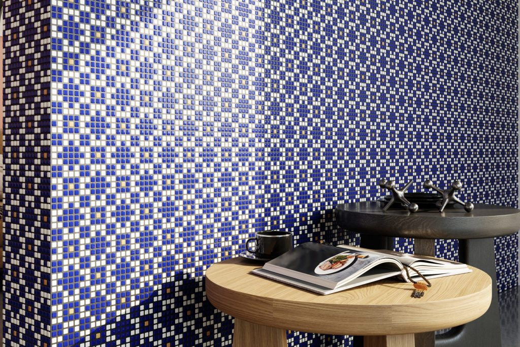 3d render living room interior with blue tile pattern wall place text scaled 1 Adrijus