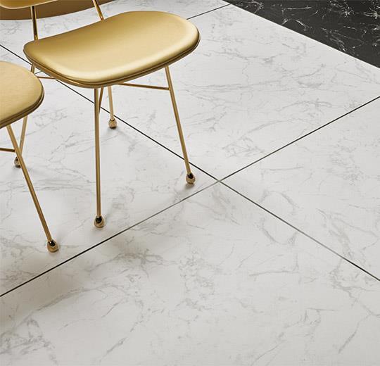 Vinilinės grindys plytelėmis Forbo Allura Material white marble (100x100 cm)