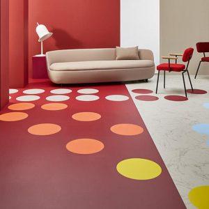 Vinilinės grindys plytelėmis Forbo Allura Material pink coral circle