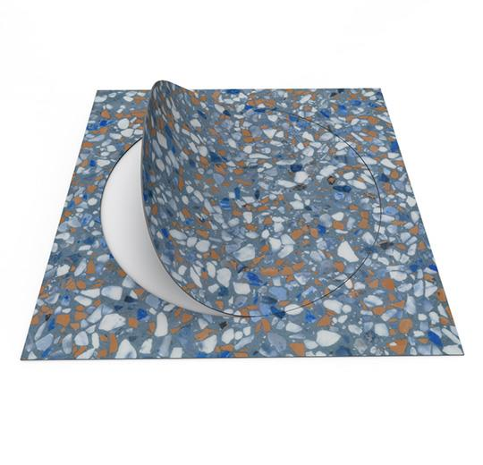 Vinilinės grindys plytelėmis Forbo Allura Material blue terrazzo circle